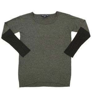 French Connection Grey Colorblock Ribbed Sweater